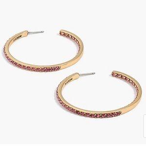 J Crew 💜 Two Tone Pave Hoop Earrings-Pink!!